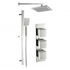 Signature Square Triple Concealed Mixer Shower with Handset and Fixed Head - Chrome