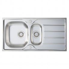 Signature Prima 1.5 Bowl Kitchen Sink with Waste Kit 965 L x 500 W - Stainless Steel