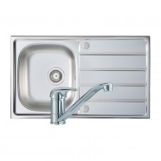 Signature Prima 1.0 Bowl Kitchen Sink with Sink Tap and Waste Kit 860 L x 500 W - Stainless Steel