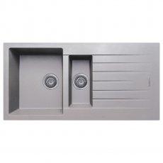 Signature Prima Granite Composite 1.5 Bowl Kitchen Sink with Waste Kit 1000 L x 500 W - Light Grey