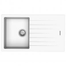 Signature Prima Compact Granite Composite 1.0 Bowl Kitchen Sink with Waste Kit 860 L x 500 W - White
