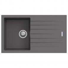 Signature Prima Compact Granite Composite 1.0 Bowl Kitchen Sink with Waste Kit 860 L x 500 W - Gun Metal