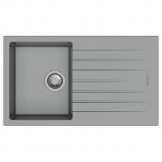 Signature Prima Compact Granite Composite 1.0 Bowl Kitchen Sink with Waste Kit 860 L x 500 W - Light Grey