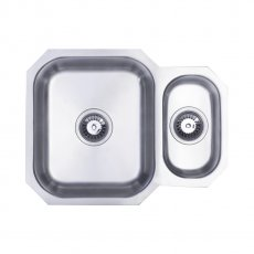 Signature Prima 1.5 Bowl Undermount Kitchen Sink with Waste Kit 595 L x 460 W - Stainless Steel