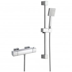 Signature Quadro Cool-Touch Thermostatic Bar Mixer Shower with Adjustable Shower Riser Kit - Chrome