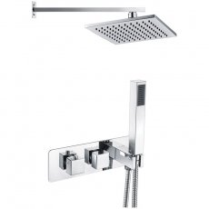 Signature Targa 2 Outlet Concealed Shower Valve Dual Handle with Handset + Fixed Head - Chrome
