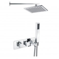 Signature Targa Twin Concealed Mixer Shower with Handset and Fixed Head - Chrome