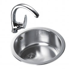 Signature Teka 1.0 Bowl Round Inset Kitchen Sink with Waste Kit 450 L x 450 W - Stainless Steel