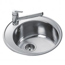 Signature Teka 1.0 Bowl Round Inset Kitchen Sink with Waste Kit 510 L x 510 W - Stainless Steel