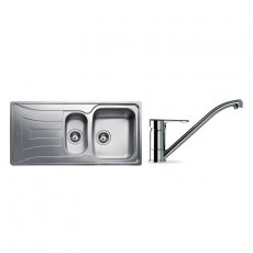 Signature Teka 1.5 Bowl Kitchen Sink with Sink Tap and Waste Kit 1000 L x 500 W - Stainless Steel