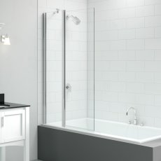 Signature Vibrance Two Panel Square Folding Bath Screen 1500mm High x 900mm Wide - 6mm Glass