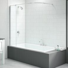 Signature Vibrance Curtain Rail Bath Screen 1550mm High x 300mm Wide - 6mm Glass