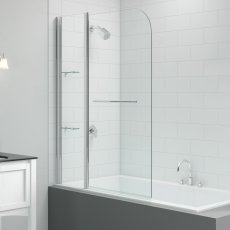Signature Vibrance Two Panel Curved Bath Screen with Rail 1500mm High x 1150mm Wide - 6mm Glass