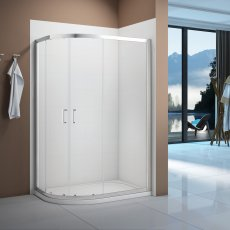 Signature Vibrance Double Door Offset Quadrant Shower Enclosure 1000mm x 800mm - 6mm Glass
