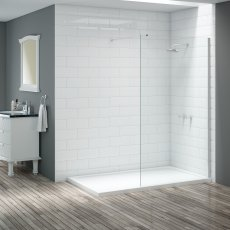 Signature Vibrance Wet Room Screen with Stabilising Bar 800mm Wide - 8mm Glass