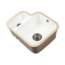 The 1810 Company Etroduo 343/136U 1.5 Bowl Ceramic Kitchen Sink - White