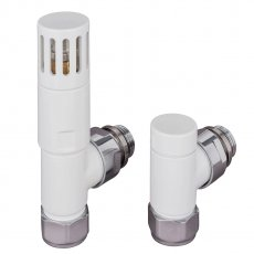 TRC Pistol TRV Straight Radiator and Towel Rail Valve - White