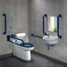 Twyford Doc M Rimless Pack With BTW Disabled Toilet Left Handed - Blue