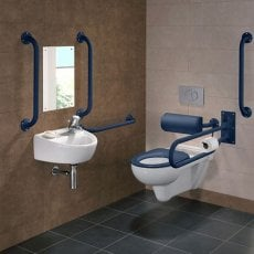 Twyford Doc M Rimless Pack With Wall Hung Disabled Toilet Right Handed - Blue