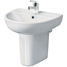 Twyford E100 Round Washbasin & Semi Pedestal 600mm Wide 1 Tap Hole