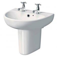 Twyford E100 Round Washbasin & Semi Pedestal 600mm Wide 2 Tap Hole