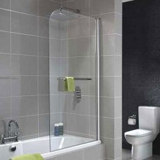 Twyford ES400 Single Panel Curved Bath Screen 1500mm x 800mm - Polished Silver