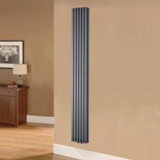Ultraheat Klon Double Designer Vertical Radiator, 1800mm H x 383mm W - Charcoal Grey