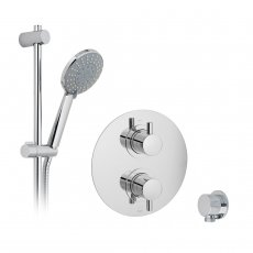 Vado DX Celsius Thermostatic Round Backplate Dual Concealed Mixer Shower with Shower Kit and Shower Wall Outlet