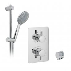 Vado DX Celsius Thermostatic Rectangular Backplate Dual Concealed Mixer Shower with Shower Kit and Shower Wall Outlet