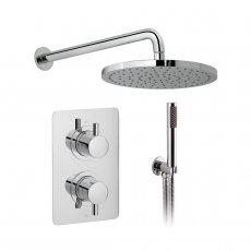 Vado DX Celsius Thermostatic Rectangular Backplate Dual Concealed Mixer Shower with Shower Kit + Fixed Head