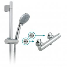 Vado Prima Thermostatic Bar Mixer Shower with Three Function Shower Kit