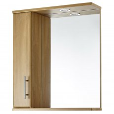 Verona Aquachic Stand Alone Bathroom Mirror with Unit and Light 600mm W X 700mm H - Natural Oak