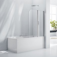 Verona Aquaglass+ Double Folding Bath Screen 1500mm H x 1200mm W - 6mm Glass