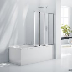 Verona Aquaglass+ 4 Fold Bath Screen 1400mm H x 850mm W - 3mm Glass