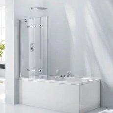 Verona Aquaglass+ Frameless 4 Fold Bath Screen LH 1500mm H x 965mm W - 6mm Glass