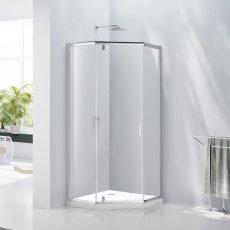 Verona Aquaglass Purity Hinged Door Pentagonal Shower Enclosure 1000mm x 1000mm - 6mm Glass