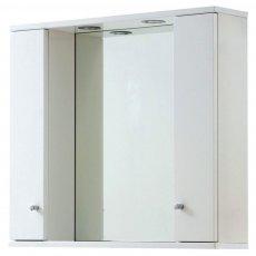 Verona Aquapure 2-Door LED Illuminated Mirrored Bathroom Cabinet 700mm H x 800mm W - Gloss White