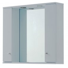 Verona Aquapure 2-Door LED Illuminated Mirrored Bathroom Cabinet 700mm H x 1000 W - Pearl Grey