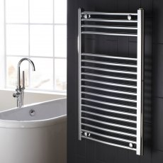 Verona Curved Designer Heated Towel Rail 700mm H x 450mm W Chrome