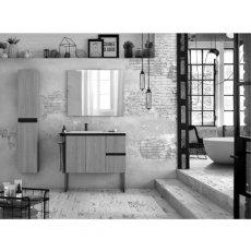 Verona Structure Illuminated Bathroom Mirror 700mm H x 1200mm W with Black Shelf and Storage Cases
