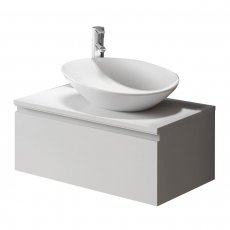 Verona Vida 1 Drawer 800mm Wide Wall Hung Vanity Unit with Basin and Worktop - Gloss White