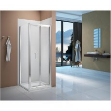 Verona Vivid Bi-Fold Shower Door with Square Shower Tray - 800mm Wide