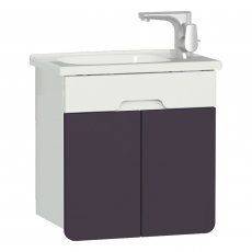 Vitra D-light Vanity Unit with Basin 500mm Wide - Matte White / Purple
