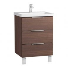 Vitra Ecora 3-Drawer Floor Standing Vanity Unit with Basin 600mm Wide Oak - 1 Tap Hole