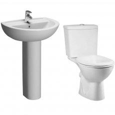 VitrA Layton Bathroom Suite Close Coupled Toilet 1 Tap Hole Basin