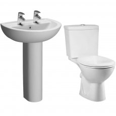 VitrA Layton Bathroom Cloakroom Suite Close Coupled Toilet 2 Tap Hole Basin