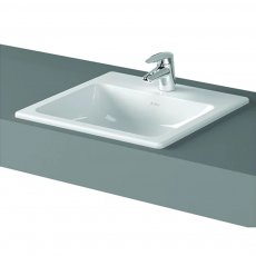 Vitra S20 Compact Inset Countertop Basin with Front Overflow 500mm Wide - 1 Tap Hole