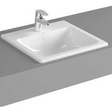 Vitra S20 Compact Countertop Basin with Front Overflow 550mm Wide - 1 Tap Hole