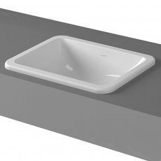 Vitra S20 Compact Inset Countertop Basin with Front Overflow 550mm Wide - 0 Tap Hole
