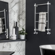 Vogue Venture Traditional Heated Towel Rail 850mm H x 650mm W Electric
